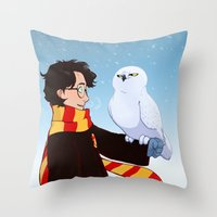 hedwig Throw Pillows featuring Harry and Hedwig by AnimonInk