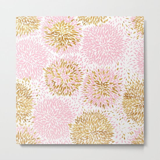 Abstract flowers pink and gold Metal Print