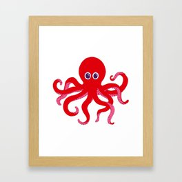 Octopus (Red) Framed Art Print