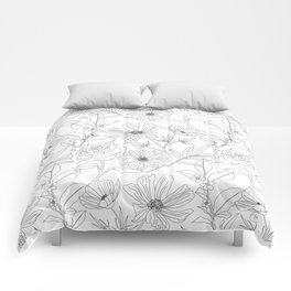 stylish garden flowers black outlines design Comforters