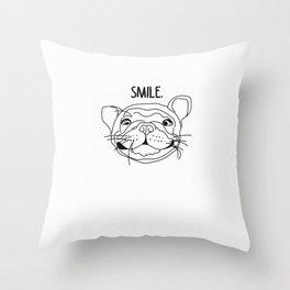 Smile - Frenchie Throw Pillow