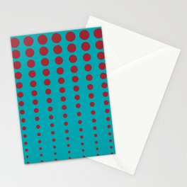 Aqua and Red Reduced Polka Dot Pattern 2021 Color of the Year Satin Paprika and Vintage Teal Stationery Cards