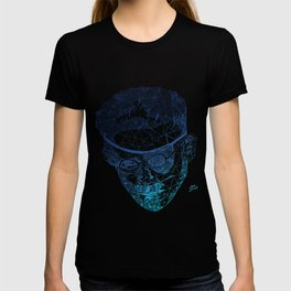 James Joyce - Hand-drawn Geometric Art Print - Blue Gradient T-shirt