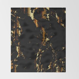 Black and Gold Marble Design Throw Blanket