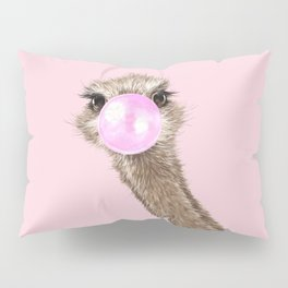 Sneaky Ostrich with Bubble Gum in Pink Pillow Sham