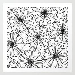 Modern black hand drawn flowers pattern Art Print