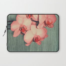 Coral Orchids on Wood Mint Laptop Sleeve