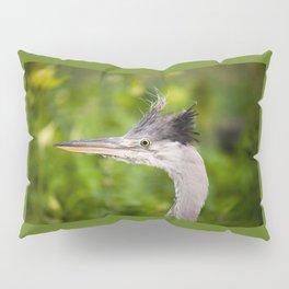 Young orphaned Ardea cinerea the grey heron Pillow Sham