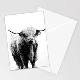 Newspaper Print Style Highland Cow. Scotland, Bull, Horns. Stationery Cards