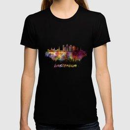 Amsterdam V2 skyline in watercolor T-shirt