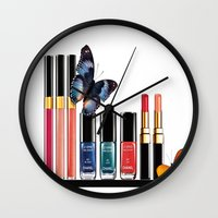 nail polish Wall Clocks featuring Butterflies, Lipstick & Nail Polish by Luxe Glam Decor