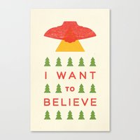 i want to believe Canvas Prints featuring I Want To Believe by KOMBOH