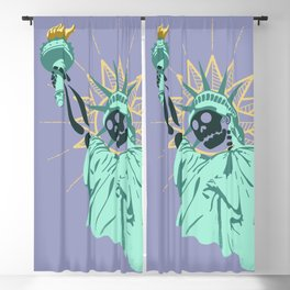 Anarchist City blue- nyc illustration statue of liberty skull Blackout Curtain