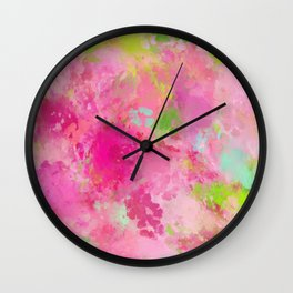 Pink neon green abstract look Wall Clock