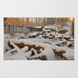 Winter Sunset Waterfall Rug