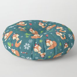 Winter Fox Christmas Holiday Pattern Floor Pillow