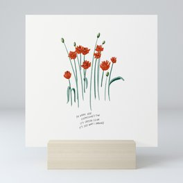 So Happy Here Everything's Fine Red Floral Illustration Lyrics Mini Art Print