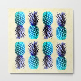 Turquoise pineapples Metal Print