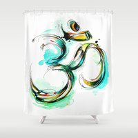 ohm Shower Curtains featuring Ohm by Abby Diamond