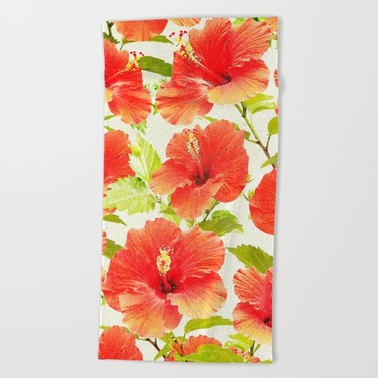 FLORAL PATTERN - HIBISCUS - Beach Towel