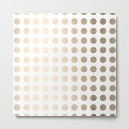 Simply Polka Dots in White Gold Sands Metal Print