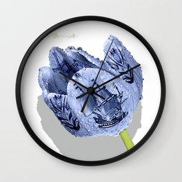 Delft blue tulip Wall Clock