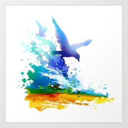 Birds flying. Sea, ocean waves. Gulls, colorful watercolor realistic panting. Blue water.. Art Print