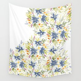 Blue Watercolor Florals Wall Tapestry