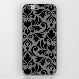 Flourish Damask Art I Black on Gray iPhone Skin