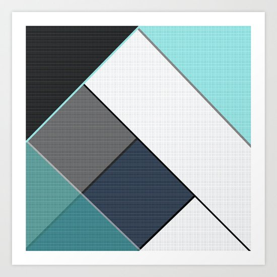 Grey-blue-black pattern . Abstraction . Patchwork . Art Print