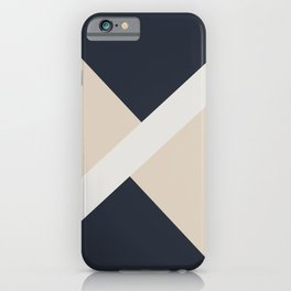 Beige White Blue Stripe Offset Shape Design 2021 Color of the Year Uptown Ecru & Accent Shade iPhone Case