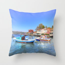 Boats on The Bosphorus Istanbul Throw Pillow