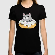 Donut Cat LARGE Black Womens Fitted Tee