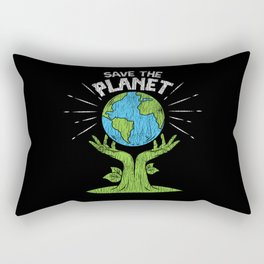 Retro Vintage Save Our Planet Plant Tree Earth Day Rectangular Pillow