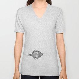 Pink flatfish pattern Unisex V-Neck