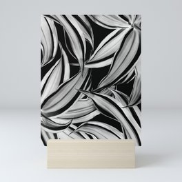 Dracaena Tropical Leaves Pattern Black & White #1 #tropical #decor #art #society6 Mini Art Print