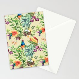 Tropical pattern on a yellow background Stationery Cards
