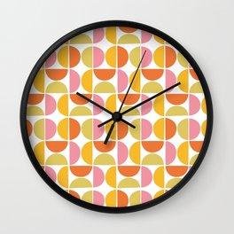 Mid Century Modern Pink Red Green Orange Geometric Wall Clock
