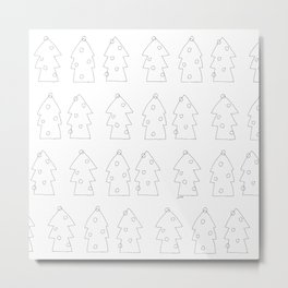 Merry Christmas Ho Ho Ho - holiday illustration black and white simple design Metal Print
