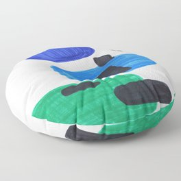 Mid Century Modern Abstract Minimalist Art Colorful Shapes Vintage Retro Style Blue Marine Green Floor Pillow