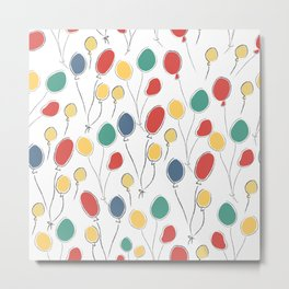 Seamless Cute Pattern with colorful air Balloons. Scandinavian Style. Metal Print