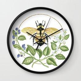 Bombus & Blackberries Wall Clock
