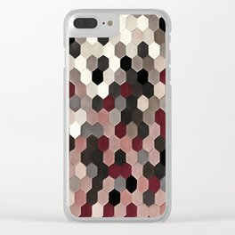 Hexagon Pattern In Gray and Burgundy Autumn Colors Clear iPhone Case
