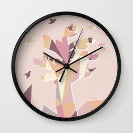 Geometric Tree Rose Gold Color Wall Clock