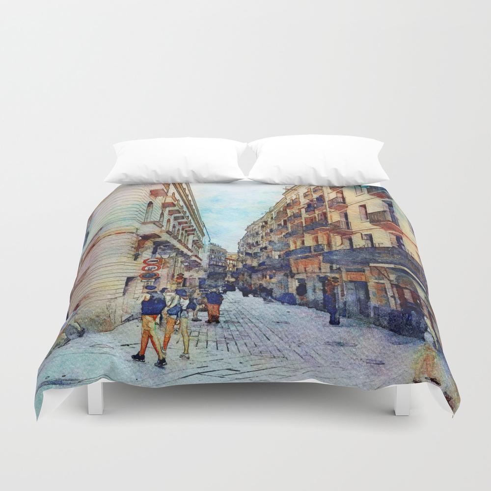City Street 2, Barcelona, Spain Duvet Cover by Ritarazzle DUV7602739