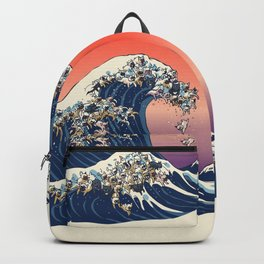 The Great Wave Of  French Bulldog Backpack
