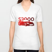 honda V-neck T-shirts featuring Honda S2000 - classic red - by Vehicle