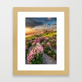 Scottish Castle ruin at Sunset Framed Art Print