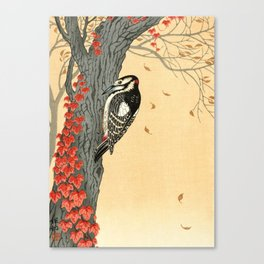Woodpecker pecking on a tree with red ivy - Japanese vintage woodblock print Canvas Print