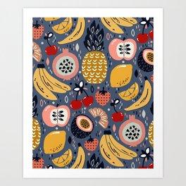 Winter Fresh Funky Fruit Art Print